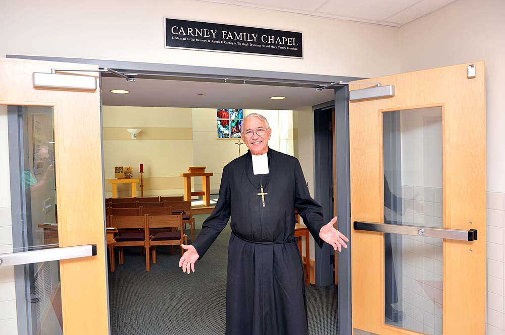 Bro.  Rene welcomes people  to the Carney Family Chapel.